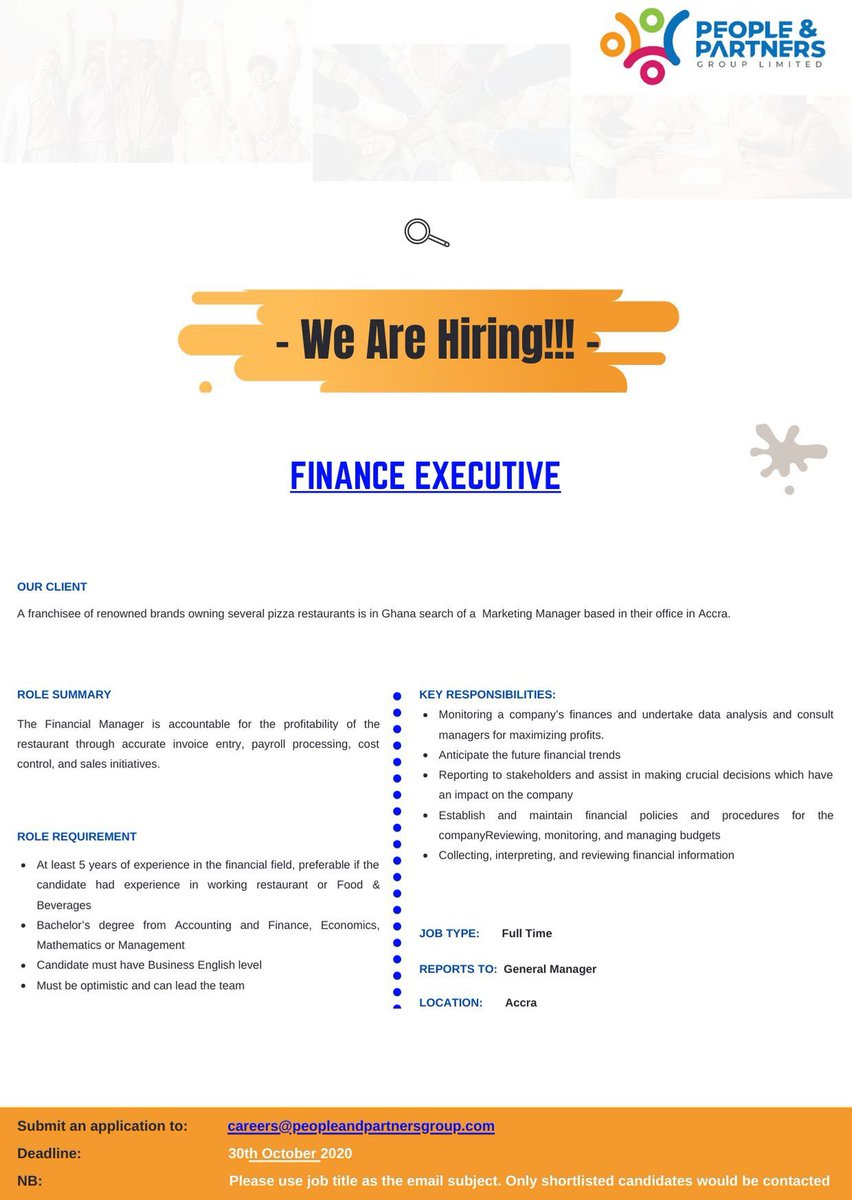 #Vacancy for   - #Finance #Executive  - #Branch #Manager  - #Marketing #Manager  - #Personal #Assistant   Kindly find attached for more information https://t.co/WdLmcvRXNC