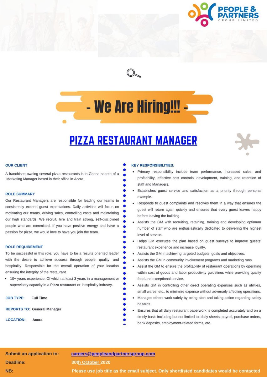 #Vacancy for   - #Pizza #Restaurant #Manager  - #Pizza #Restaurant #Supervisor   Kindly find attached for more information   #vacancies #jobs #ghana https://t.co/0QeZ4EQzZj