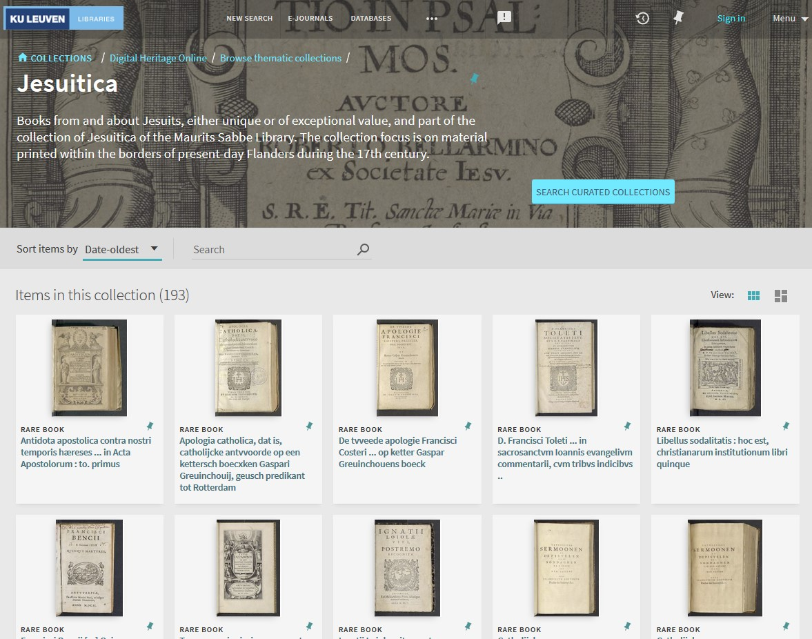 In light of @KU_Leuven Libraries #OpenData policy for digitised collections in #PublicDomain we are opening up more collections with #IIIF: Jesuitica coll. (@KULTheology) can be viewed with @universalviewer and shared with persistent JSON: https://t.co/XSN4ErKrae @LIBISintoinfo https://t.co/HDvBThj6zu