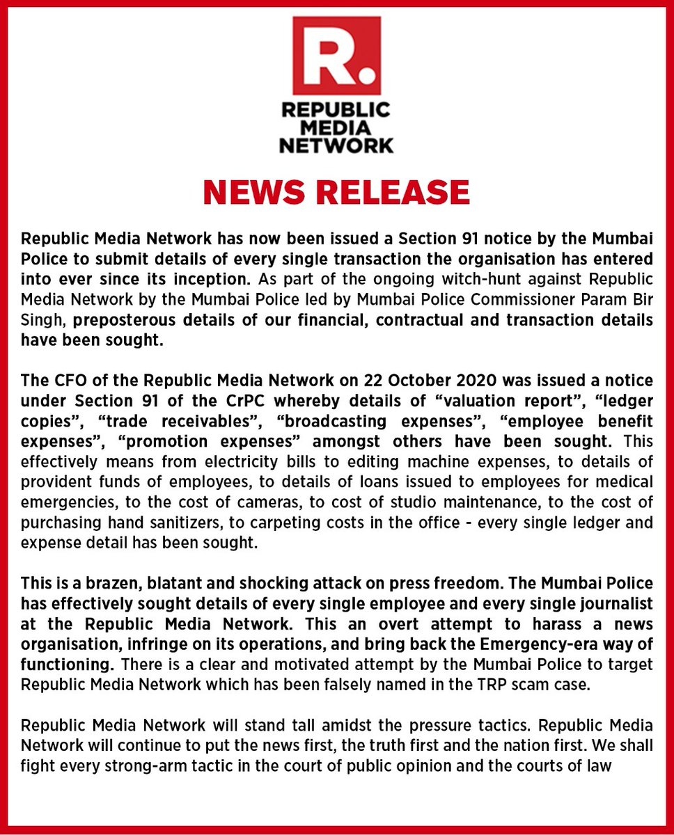 #RepublicWitchhunt In a brazen, blatant & shocking attack on press freedom by Mumbai Police, Republic Media Network has been issued notice to submit details of every transaction since inception & list every single journalist & employee. We will fight each & every strongarm tactic https://t.co/qvG8ZlqWt6