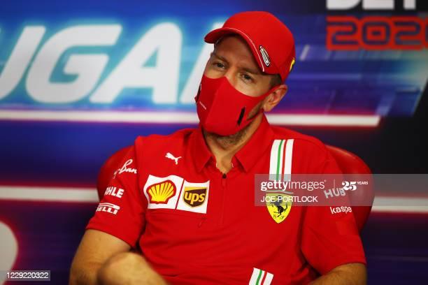 Sebastian Vettel attends the official press conference  #sebastianvettel #vettel #formula1 #f1 #ferrari #scuderiaferrari #hamilton #AstonMartin #ricciardo #verstappen #leclerc #PortugueseGP https://t.co/NJiRUqCqmy