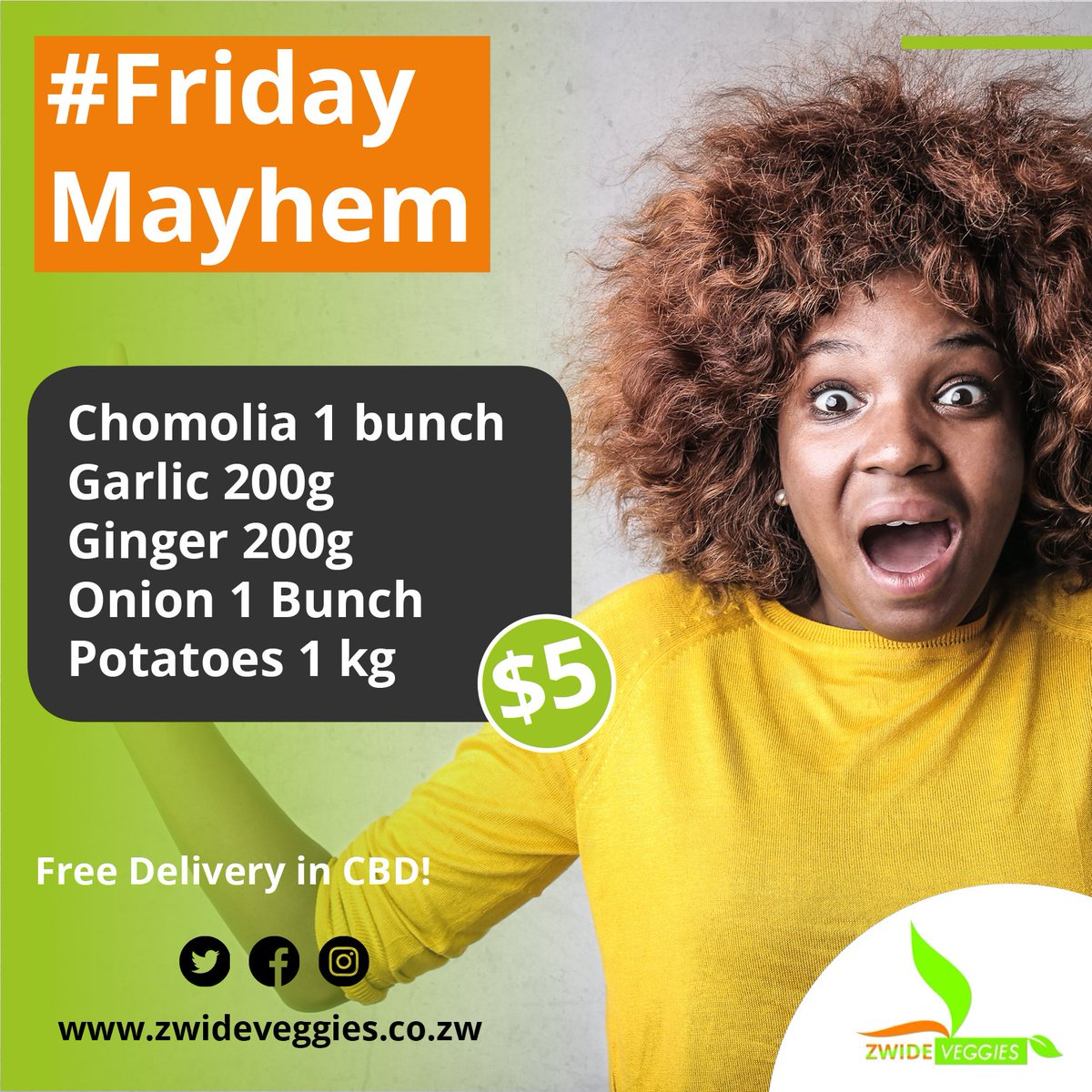 #FridayMayhem🤯 is back and #ZwideVeggies has a great #FridayBox ready for you. Order early to avoid disappointment and free Delivery in the CBD!!! Yes, Free!  @EmmaNxumalo @CurateByo @samtenban @retweet263 #friday #farmfreshveggies #localproduce #bulawayo #zimbabwe #5dollardeals https://t.co/TbHtPQykL1