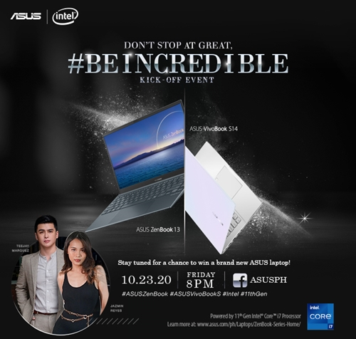 ASUS Unveils its first Intel 11th Generation Consumer Laptops in the Philippines. Tune in tonight 8:00 PM at the @ASUSPh page! https://t.co/g6f1Wkrkeh #BeIncredicle #ASUSPh #ASUS #WomanInDigital #ASUSVivoBookS #11thGen https://t.co/QplaAYRvJ7