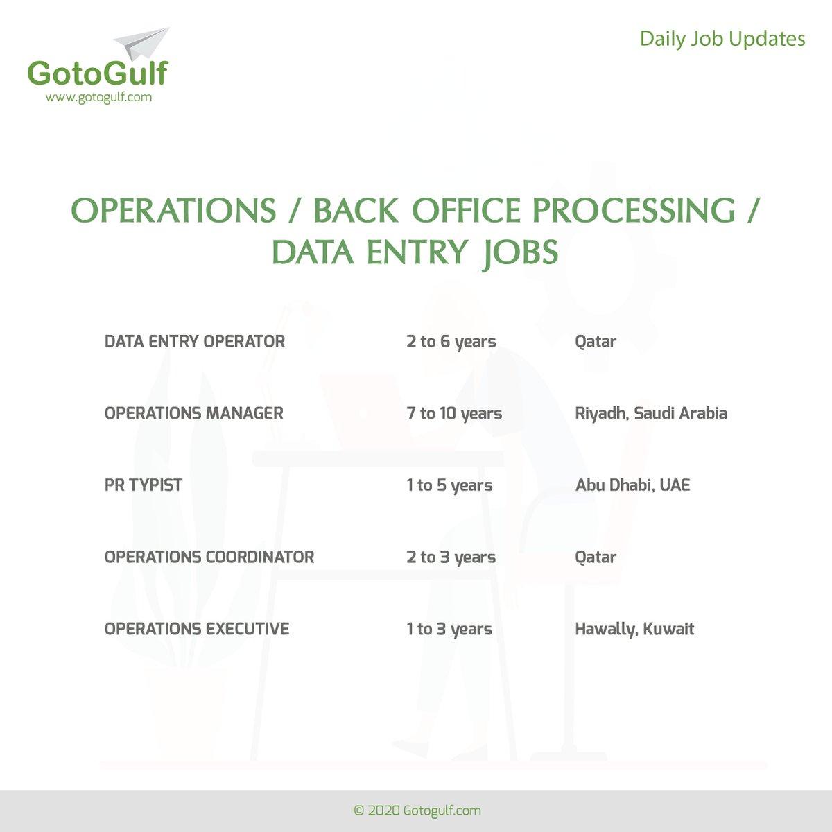 Click on the below link to apply for the job vacancies, https://t.co/YAzvVyfiR6  #gotogulf #jobs #middleeast #jobseeker #recruitment #operation #back #office #process #data #entry #operator #manager #pr #typist #coordinator #executive #qatar #saudiarabia #kuwait #uae https://t.co/QSlhROTENI