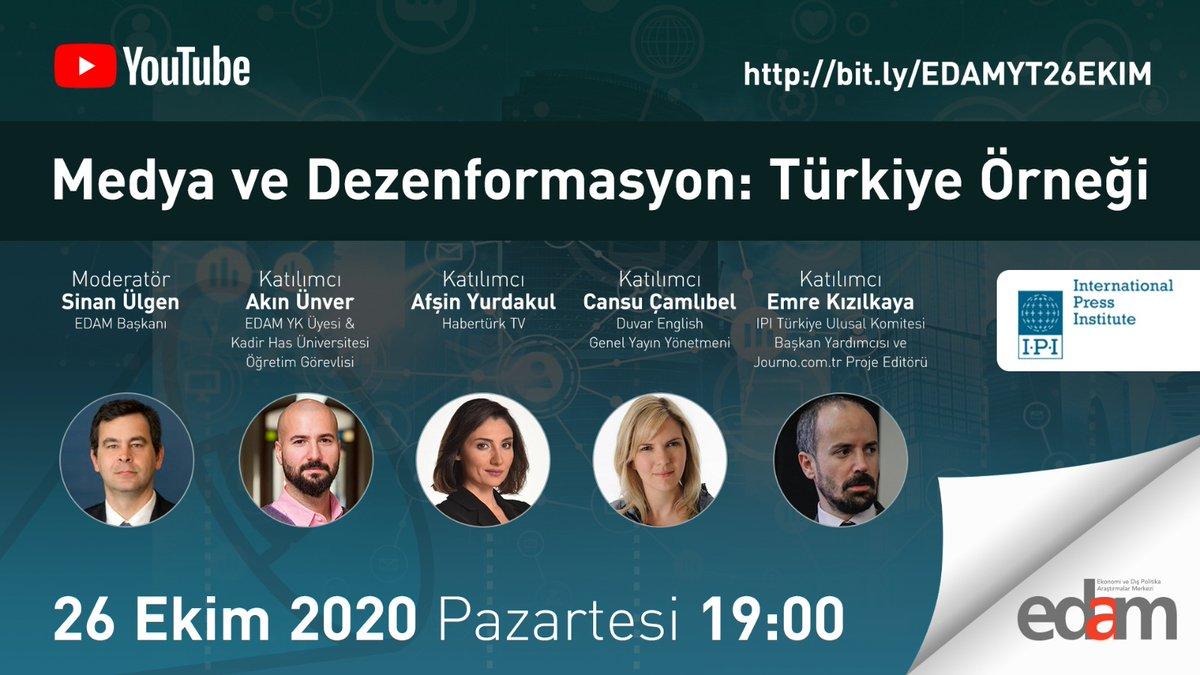 26 Ekim 2020 Pazartesi 19:00'da YouTube yayınında  @sinanulgen1 moderatörlüğünde @AkinUnver @afsinyurdakul @cansucamlibel @ekizilkaya'nın katılımlarıyla Uluslararası Basın Enstitüsü - IPI desteği ile Medya ve Dezenformasyon: Türkiye Örneği'ni tartışacağız. https://t.co/UXOf53MNvc https://t.co/uwa0713JwC