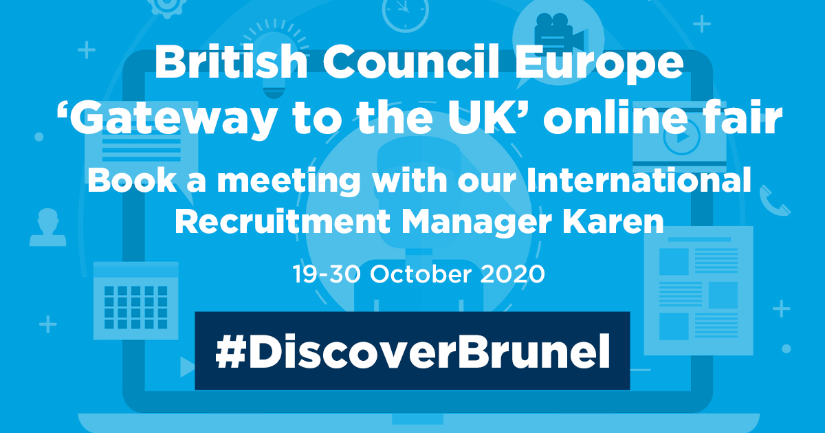 Are you a #European student thinking about applying to Brunel? Book a #meeting with our International Recruitment Manager Karen, and #ask all your questions about our courses and life at Brunel: bit.ly/2FwlqDO. #DiscoverBrunel #Study #UK #London #University #Student