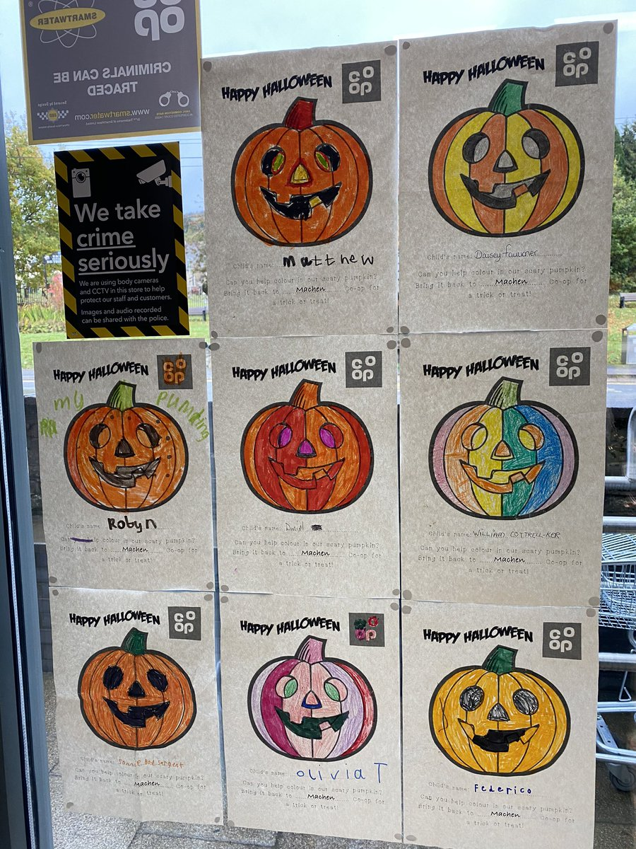Had some really colourful posters back for our #Halloween display instore so far 😃🎃👍🏻 from the children @machenprimary @MachenPta and they've all received a #treat 🍭 https://t.co/WP4SfVgWzl