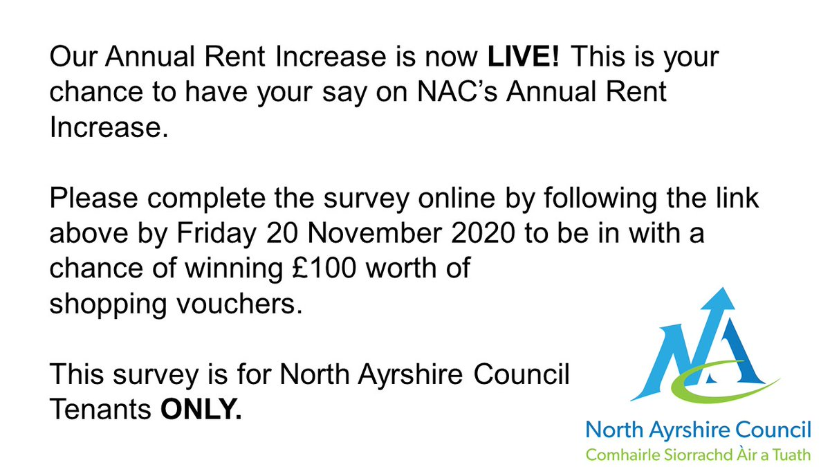 The following link will take you to our annual rent increase survey: surveymonkey.co.uk/r/RWGBM8B
