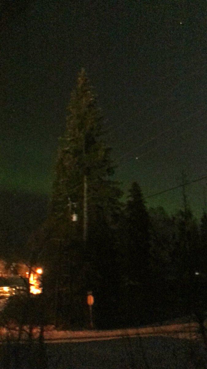 夜中12時、フェアバンクスの北の空にうっすらオーロラ出始めました!発達するといいですね!#アラスカ #フェアバンクス #オーロラ #alaska #fairbanks #aurora #auroraborealis #northernlights https://t.co/J2fdNs1hin
