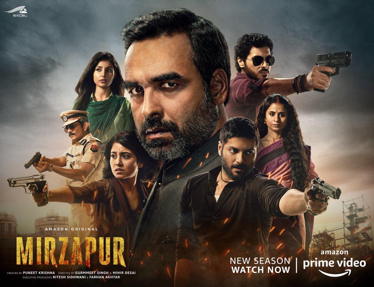 Mirzapur Season 2 Out now :  #MirzapurOnPrime  @YehHaiMirzapur @PrimeVideoIN @excelmovies @TripathiiPankaj @alifazal9 @divyenndu @battatawada @RasikaDugal @HarshitaGaur12 @mrvijayvarma @ritesh_sid @puneetkrishna @gurmmeet @MihirBDesai @vineetkrishna01