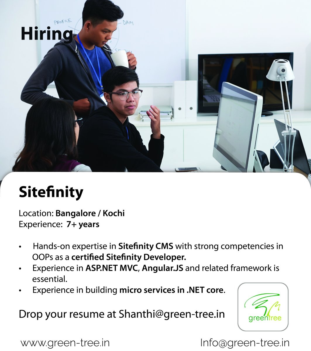 #WeareHiring Sitefinity - #Bangalore / #Kochi  #Comment Interested  Follow #Greentree for daily Job updates! #sitefinity #cmsdevelopment #cmswebsite #cms #angulardeveloper #aspdotnet #microservices #dotnet #microservicesarchitecture #jobseeekers #sitefinityjobs #itjobsearch https://t.co/yrO9rvrqPA