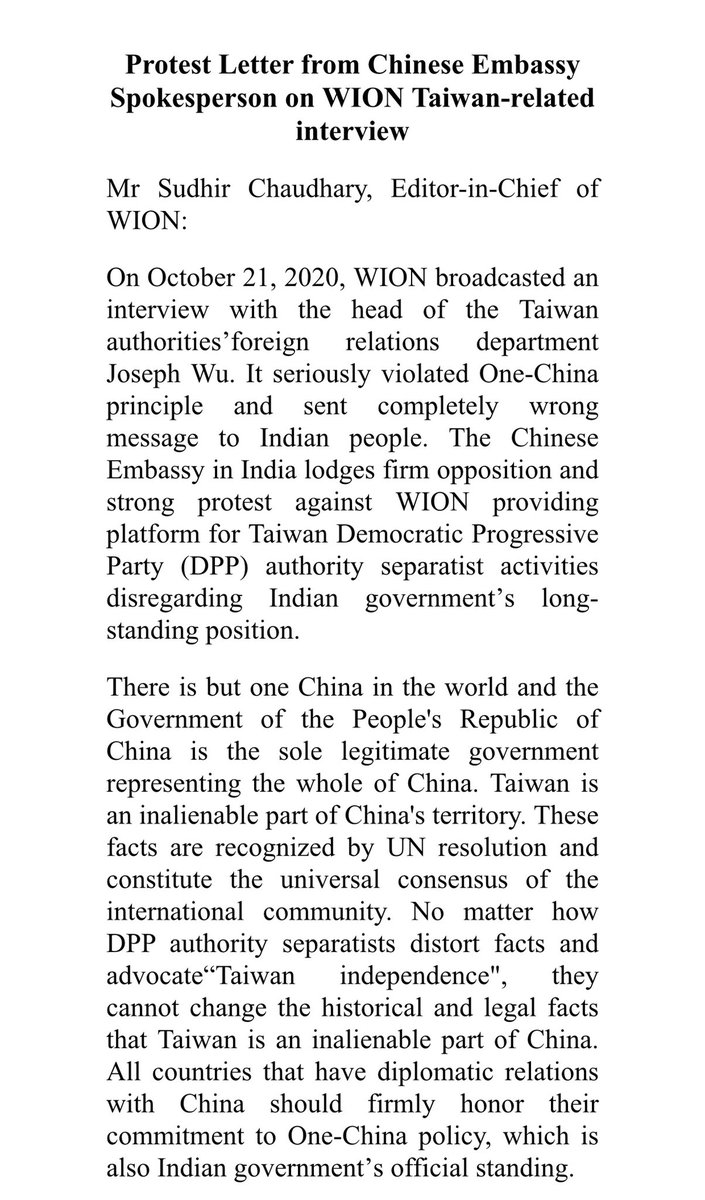Chinese embassy's protest letter to @WIONews on the One-China policy. What about one-India? Can China start by admitting that Kashmir,Ladakh & Arunachal Pradesh are parts of India? Respecting sovereignty is a two-way street @ChinaSpox_India. Happy to have interviewed @MOFA_Taiwan https://t.co/Uszsfw3Cb6