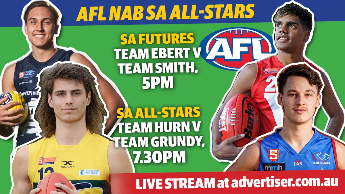 LIVE STREAM: The state's top #draft prospects are set to square off in a bid to impress #AFL recruiters on Grand Final eve. Catch every kick from SA's all stars games in our live stream from 5pm today.  WATCH HERE: https://t.co/kCW0Huy3xF https://t.co/BYsiauRIyK