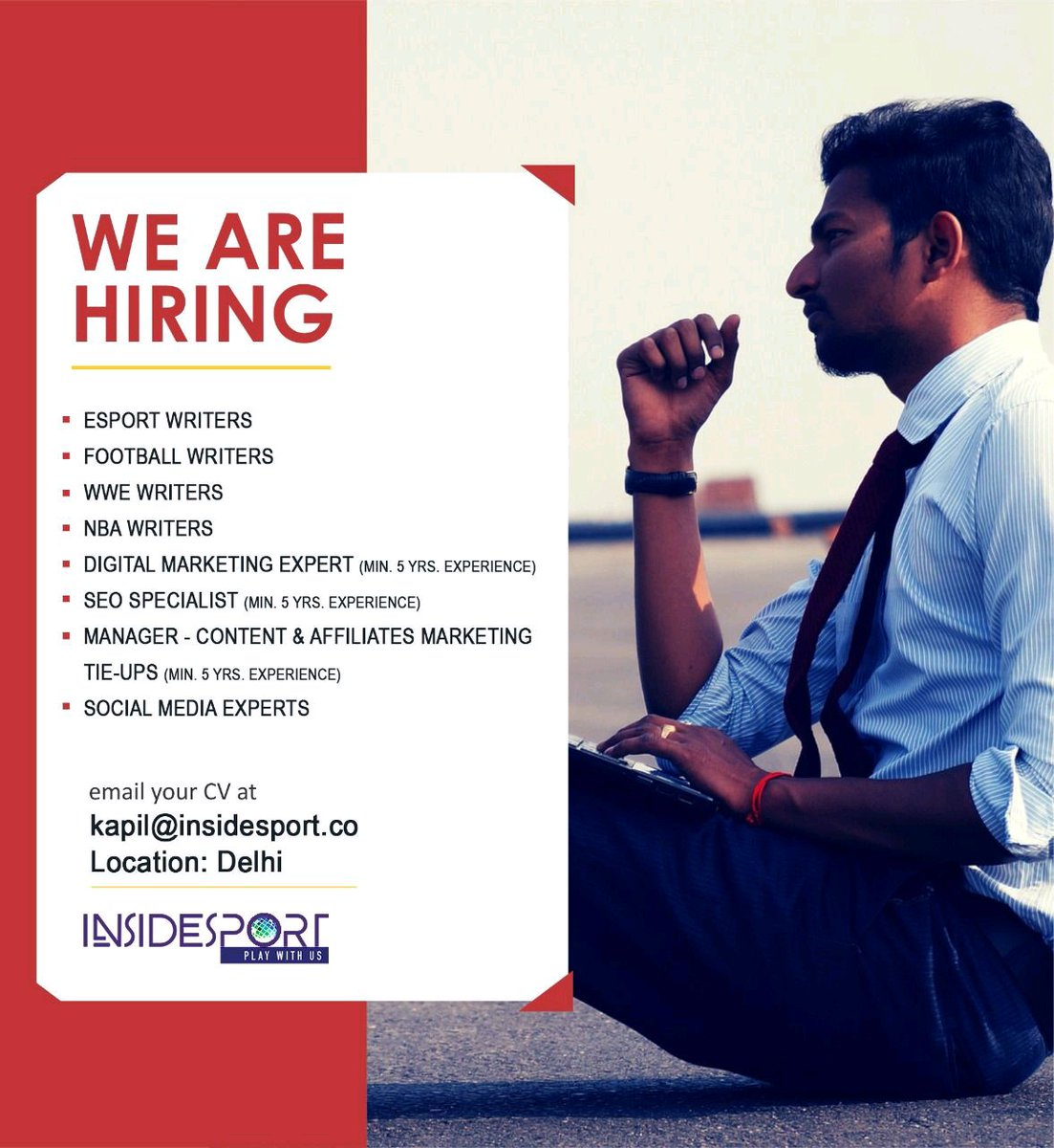 #JobAlert 26 @InsideSportIND #esportwriters #footballwriters #wwewriters #footballnews #esportsnews #wwe #nbanews #nbawriters #digitalmarketingjob #seospecialists #socialmediaexperts #delhi #hiringnow #hiringalert https://t.co/4tAb7oKkCn