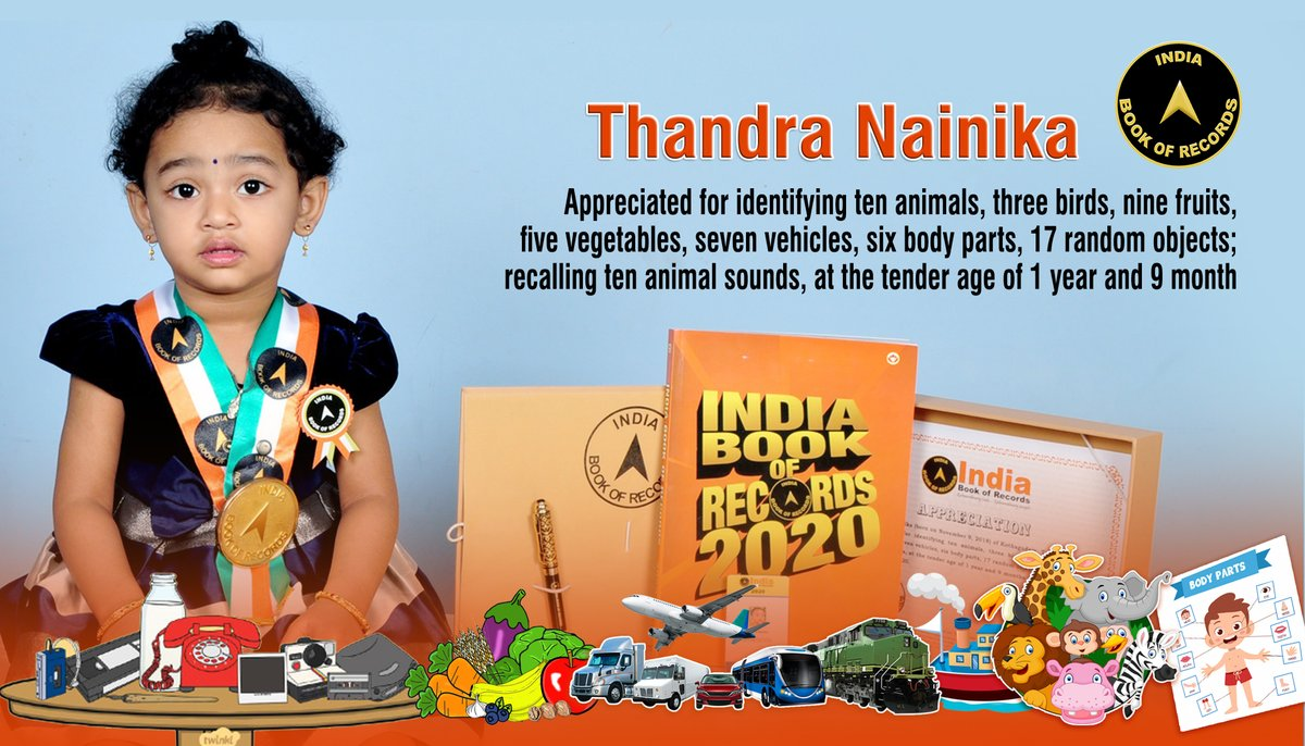 Thandra Nainika of #Kothagudem, #Telangana, is #appreciated for #identifying 10 #animals, 3 #birds, 9 #fruits, 5 #vegetables, 7 #vehicles, 6 #bodyparts; #recalling 10 #animalsounds, at the #tenderage of 1 #year and 9 #months. Read More At: https://t.co/m8J1tDyctn https://t.co/aiMtMGkOZP