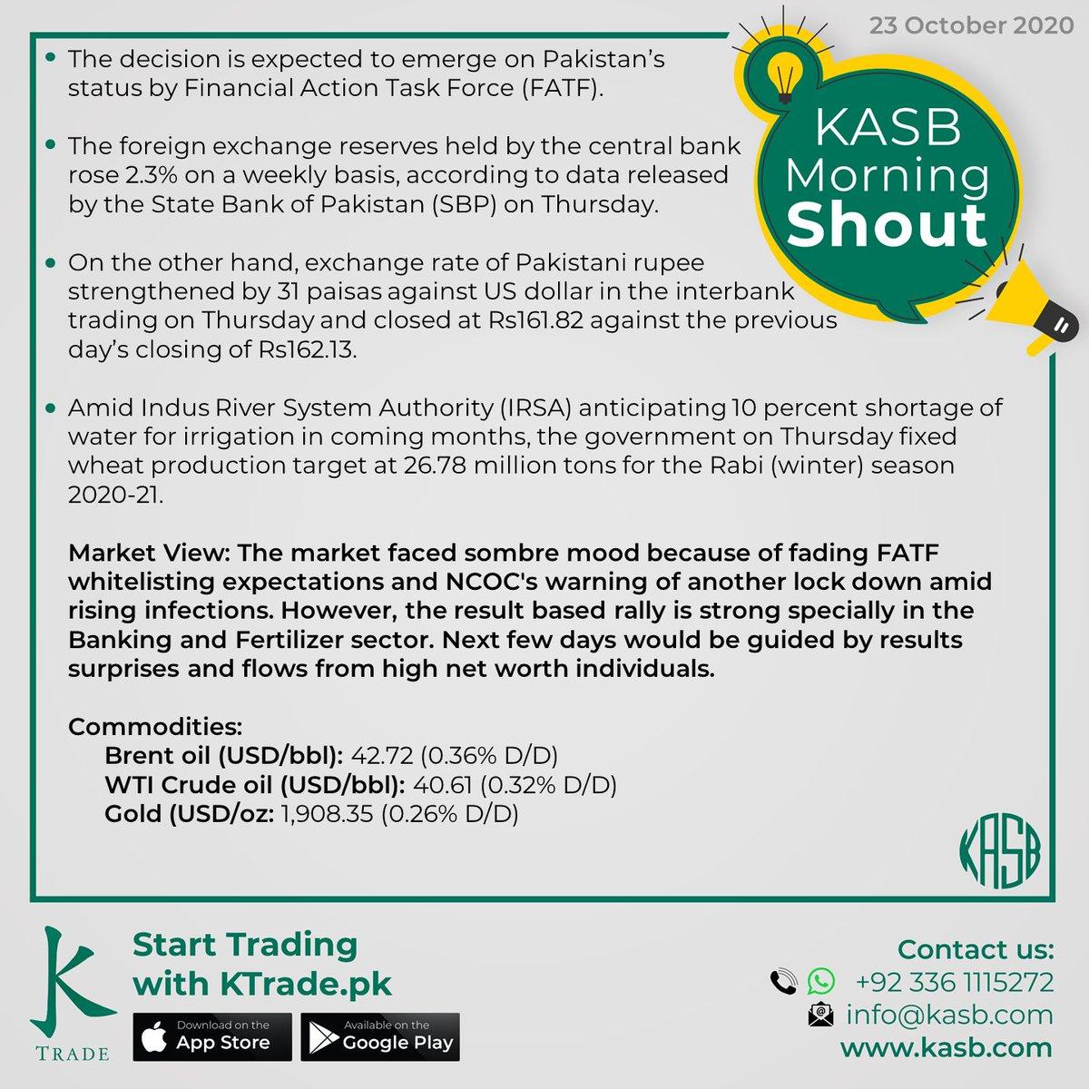 KASB Morning Shout: Our views on today's news #kasb #smartinvesting #psx #stockmarket #KTrade #onlinetrading #pakistaneconomy #imrankhan #sbp #inflation #kse100 #brokeragehouse #psxstocks #marketupdate #emergingmarkets #frontiermarkets #news #morning #today #views https://t.co/Vewjp3D1Jp