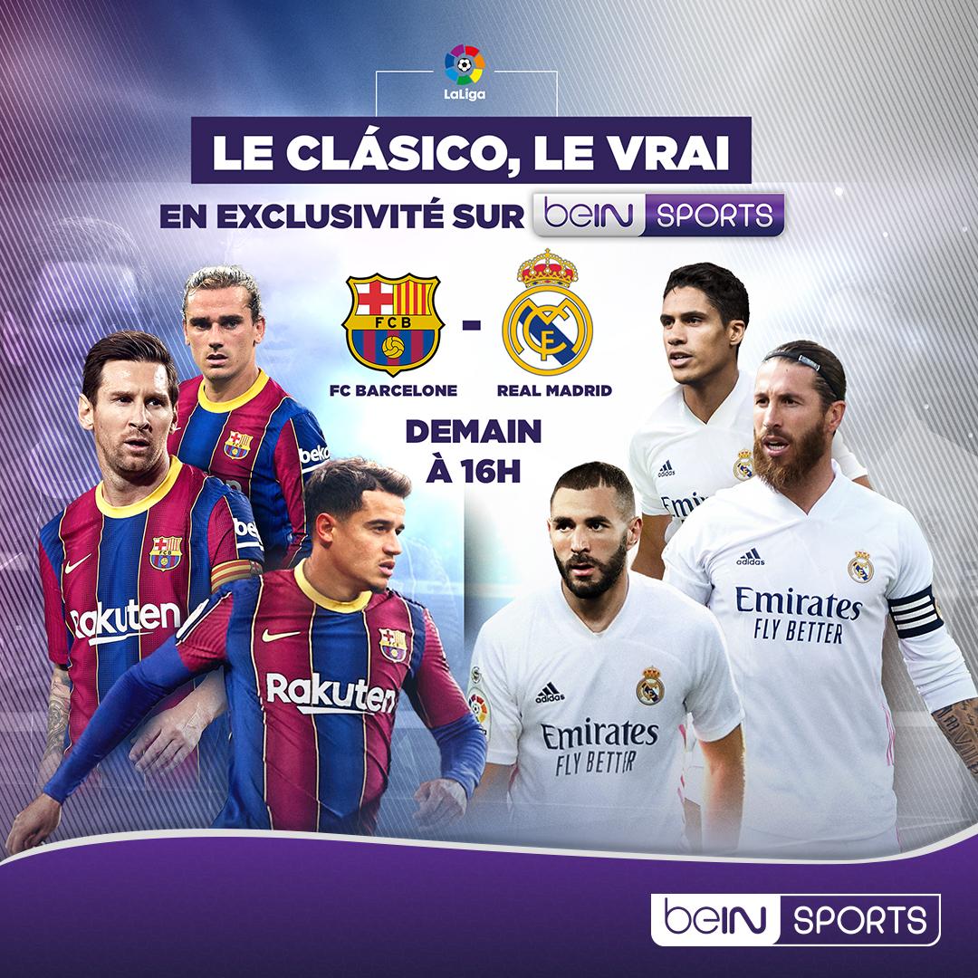 🇪🇸 #LaLiga 🚨 RDV demain à 16H en direct sur #beINSPORTS 1 pour suivre #ElClasico, FC Barcelone - Real Madrid ! https://t.co/cLLf32EwUW