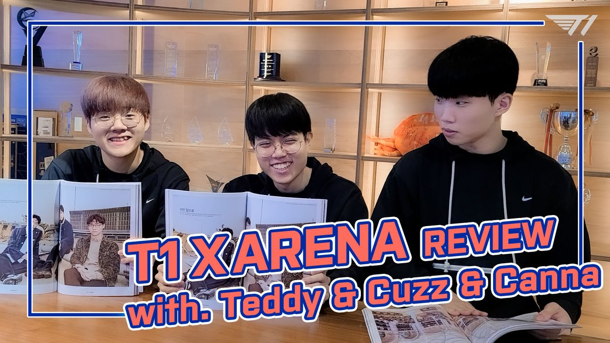 lol_Khan - [T1 X ARENA Review]  T1 선수들의 색다른 모습을 만나볼 수 있는 아레나 11월호, 발간 기념 소감을 지금 만나보세요.  Time to review our Arena magazine! Who do you think was the best model?  #테디 #커즈 #칸나 #Teddy #Cuzz #Canna