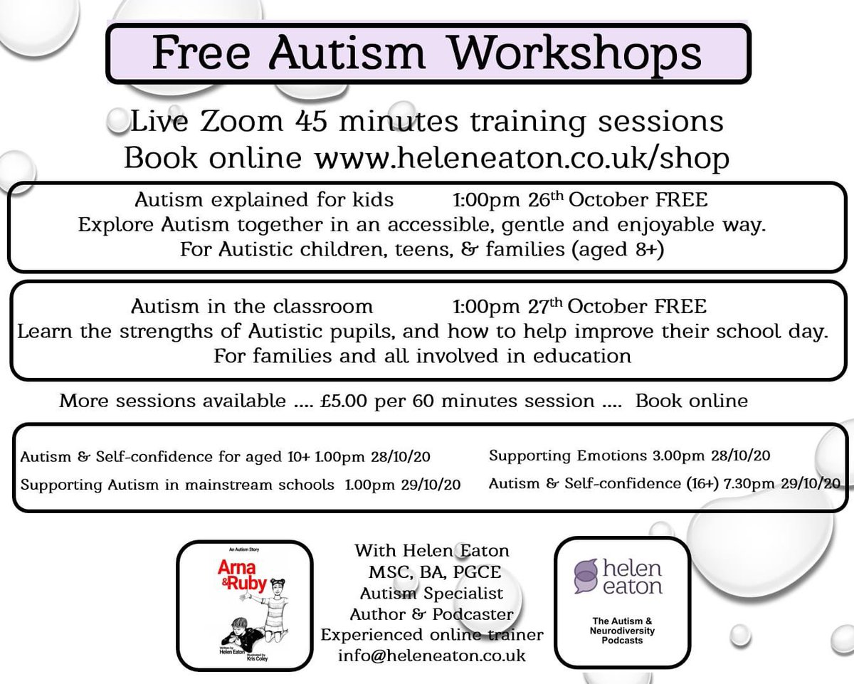 These free Autism training sessions are close to full now - best book quickly! Longer more in depth sessions are also available next week for just £5 each 😀https://t.co/Poe2n2DH1V https://t.co/9N73hBac75