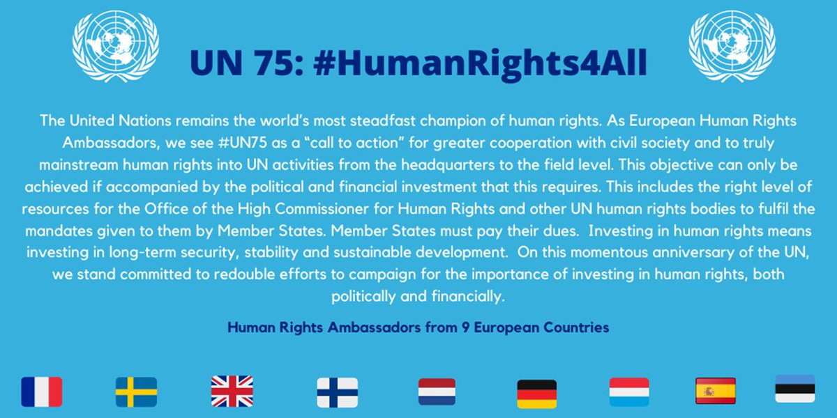 """Celebrating #UN75 🇺🇳 w. my European Human Rights Ambassador colleagues: """"Investing in #HumanRights means investing in long-term security, stability and sustainable development"""" 🌐☮⚖ @ulkoministerio 🇫🇮 -> Rules-based world order#UN #OHCHR https://t.co/HrDlRcm3Pq"""