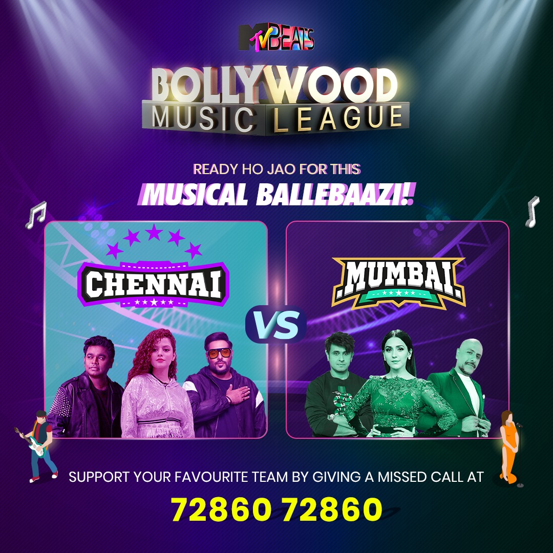 Kaun padega kispar bhaari aur kiski hogi aakhri paari? Cheer for your favourite team by tuning in at 9 AM for #Chennai and 5 PM for #Mumbai, only on #MTVBeats.  #BollywoodMusicLeague #BloodMeinHaiBeat #Cricket #IPL2020 #singers #music #artists https://t.co/FtjeDJt1lC