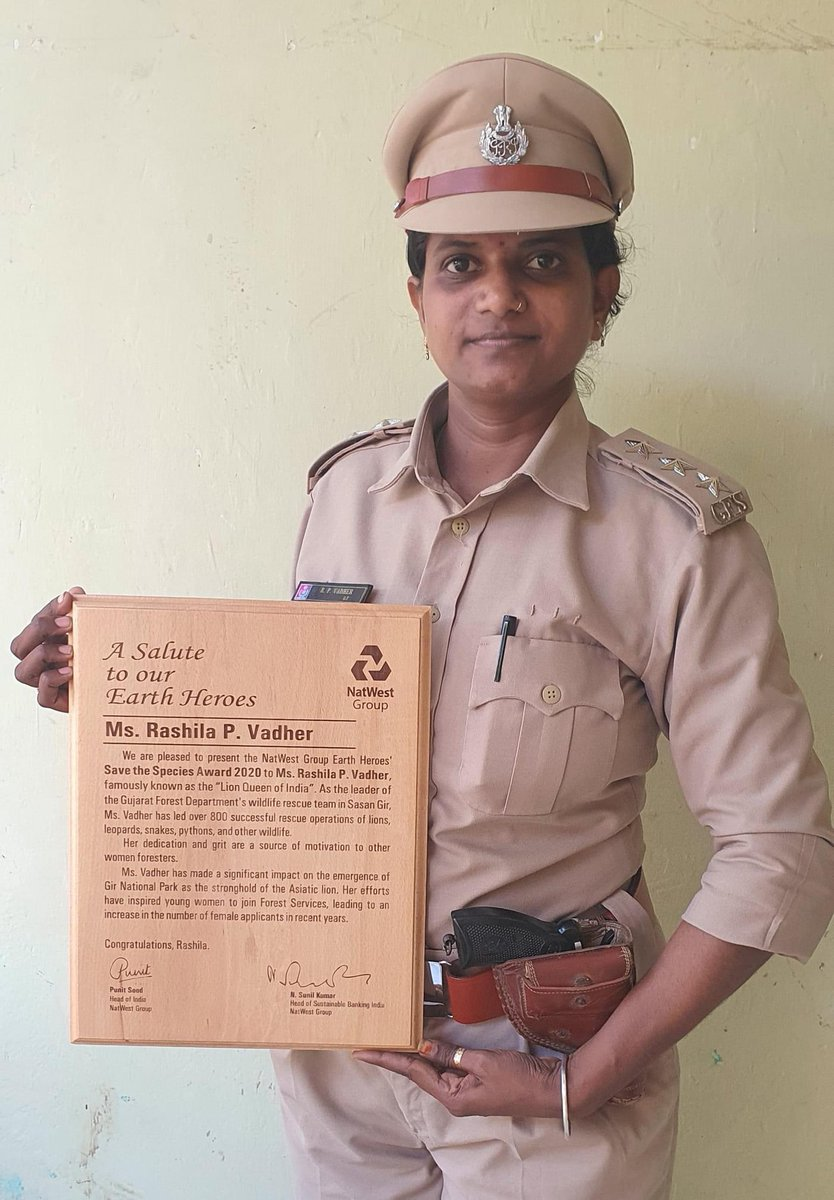 "Ms Rasila P. Vadher receives  NatWest ""Save the Species Award 2020"" .. More power to Women #Foresters of India..👍 #LionQueenofIndia  #Gir  @GujForestDept @LadyIFSOfficers https://t.co/sfgbvTmGgr"