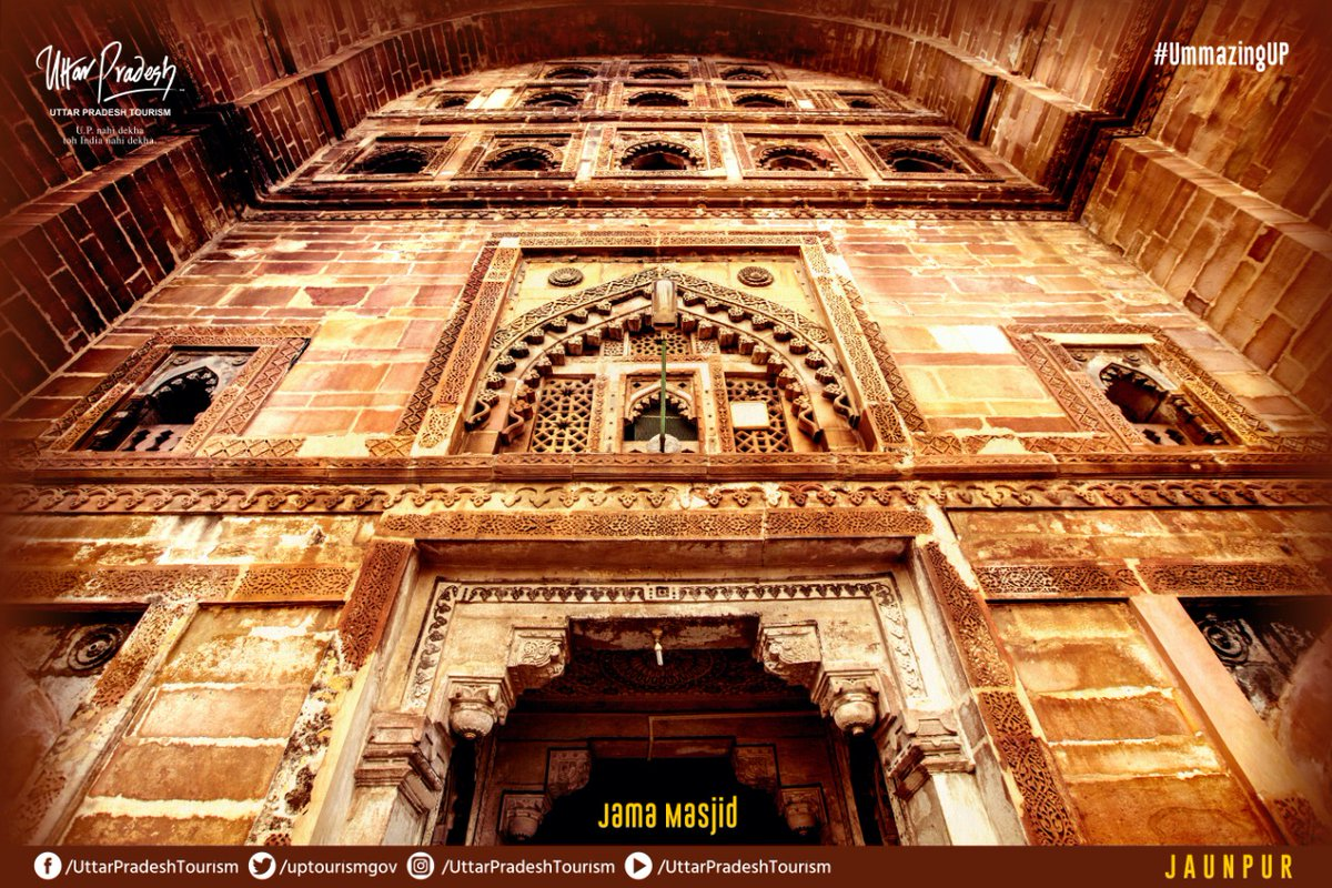 Jama Masjid of Jaunpur is regarded as an eye-catching, creative and artistic attraction. It is adorned with Egyptian style engravings. The curves and arches are also skillfully decorated with lotus, sunflower and rose motifs.  #Jaunpur #UPNahiDekhaTohIndiaNahiDekha #UmmazingUP https://t.co/Pdq8kv9wa0