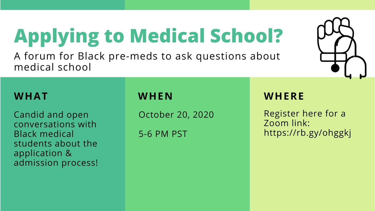 Dear Black Pre-Meds   Ask me and @haley_e_moss any questions you have about preparing for and applying to med school. We're here to support ya'll #premedtwitter #MedTwitter   Date: Oct 20th  Time: 5-6PM PST Register here: https://t.co/TPG37LQwKX https://t.co/3mmcOw34kG