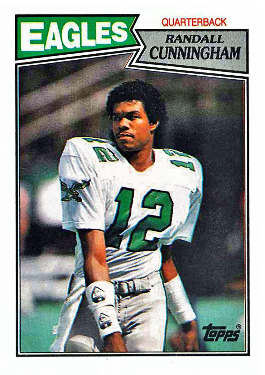 This Randall Cunningham 1987 Topps rookie card is trending upward & has been very popular over the past few months. There's good earning potential on graded PSA 8-10 cards, as well as near mint-mint raw cards only. Condition is very important for ROI.  #NFL #Eagles #FootballCards https://t.co/x8D9MOqHFF