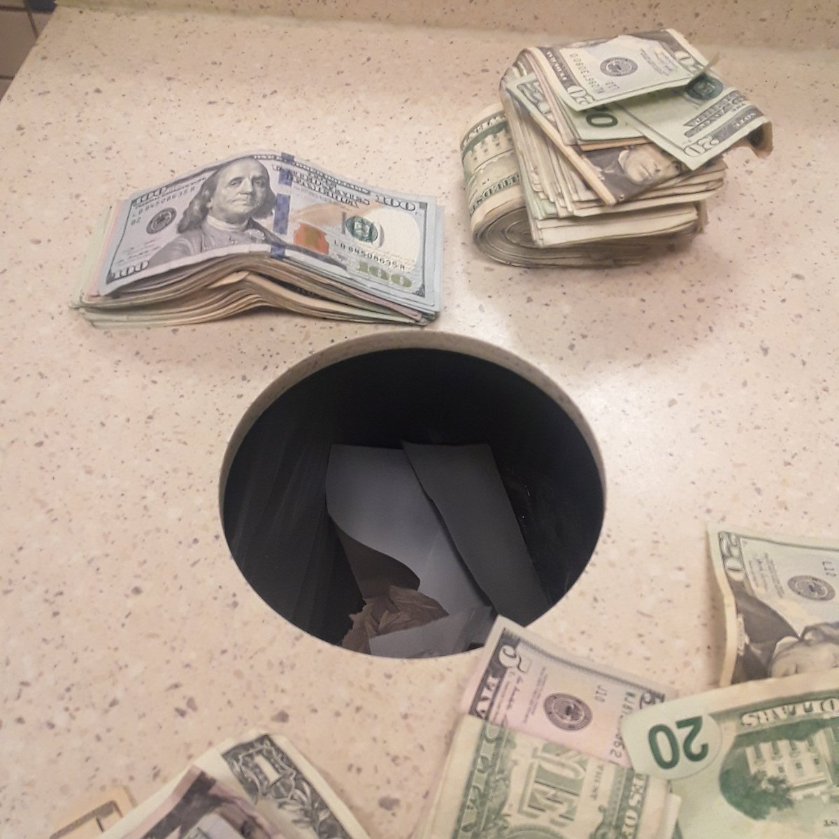 I dont care where im at i count money anywher i go im in a restaurant bathroom counting money richforlife