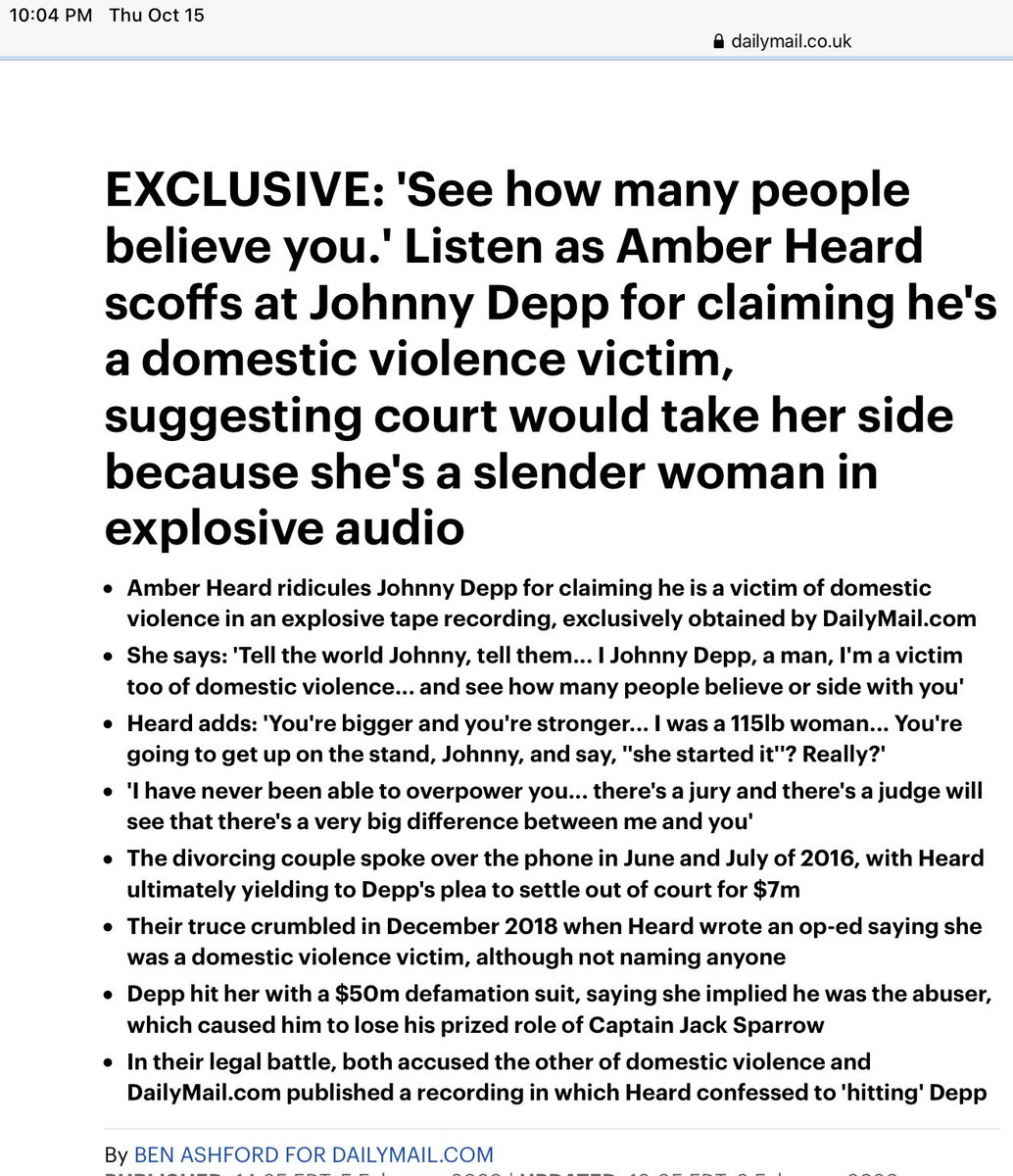 """@Natural_Uaena @Sia """"See how many people believe you.' Listen as Amber Heard scoffs at Johnny Depp for claiming he's a domestic violence victim, suggesting court would take her side because she's a slender woman in explosive audio"""" #justiceforjohnnydepp https://t.co/1SivfnMMzO"""