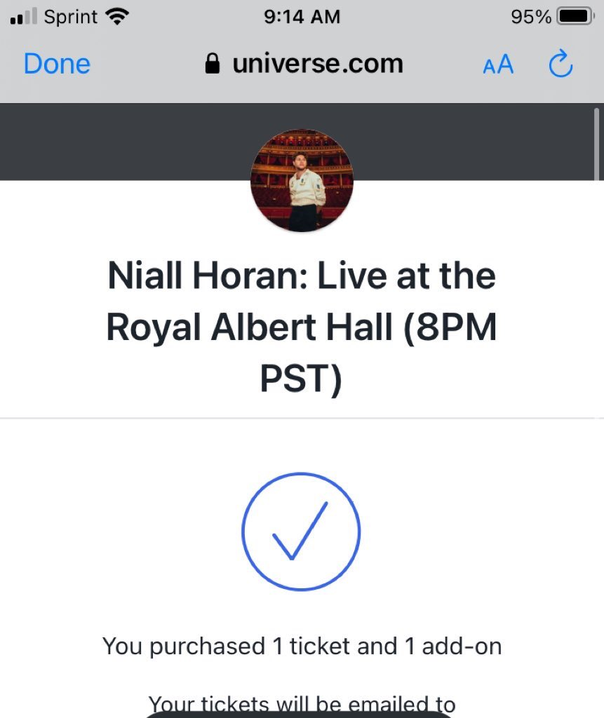 @NiallOfficial @RoyalAlbertHall got mine niall can't wait to hear some hbw songs 🖤