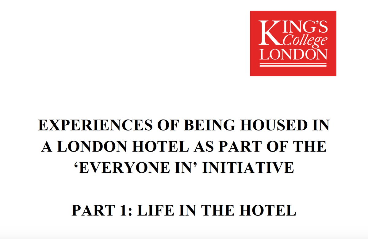 Were conducting a qualitative study exploring the experiences of people housed in the London hotel programme for people experiencing rough sleeping. Weve written our 1st report & wanted to share this: osf.io/qp5wu/ @StMungos @HomelessLink @crisis_uk @RobertJenrick