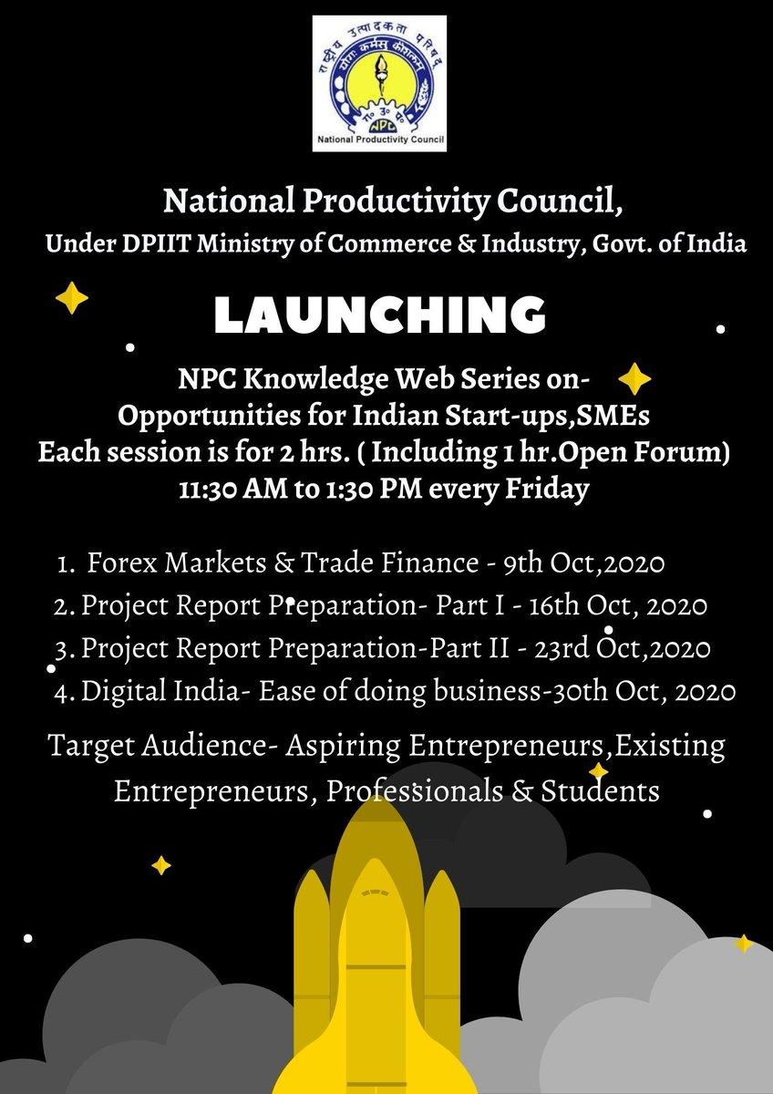 Starting soon Register #npc   @RailMinIndia @DIPPGOI @SriSri @FAO @WFP @DGQAIndia #epass @beeindiadigital @MinOfPower @NEFI89 @pgcilindia #KYP  @SriSriU @GGSIPUIndia @socialpwds @UN @WHO @MSDESkillIndia @shardauniv @Tmumbd @minmsme https://t.co/YI07S8lXK8