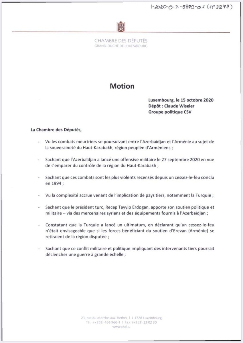 The #Luxembourg Parliament has unanimously adopted a resolution condemning the hostilities unleashed by #Azerbaijan against #Artsakh, #Turkish military-political support to #Azerbaijan & calling on the govt. to clearly condemn all military actions that violate the 1994 ceasefire. https://t.co/Rho7EIYJkz