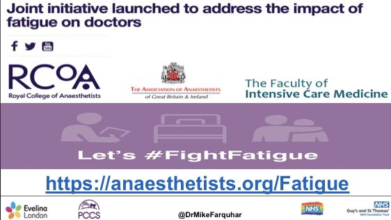 On #WorldAnaesthesiaDay a thank you to all the anaesthetists I have worked with in relation to fatigue over the last few years Being invited to join @Assoc_Anaes @RCoANews #FightFatigue group has resulted in one of the most satisfying professional collaborations of my career