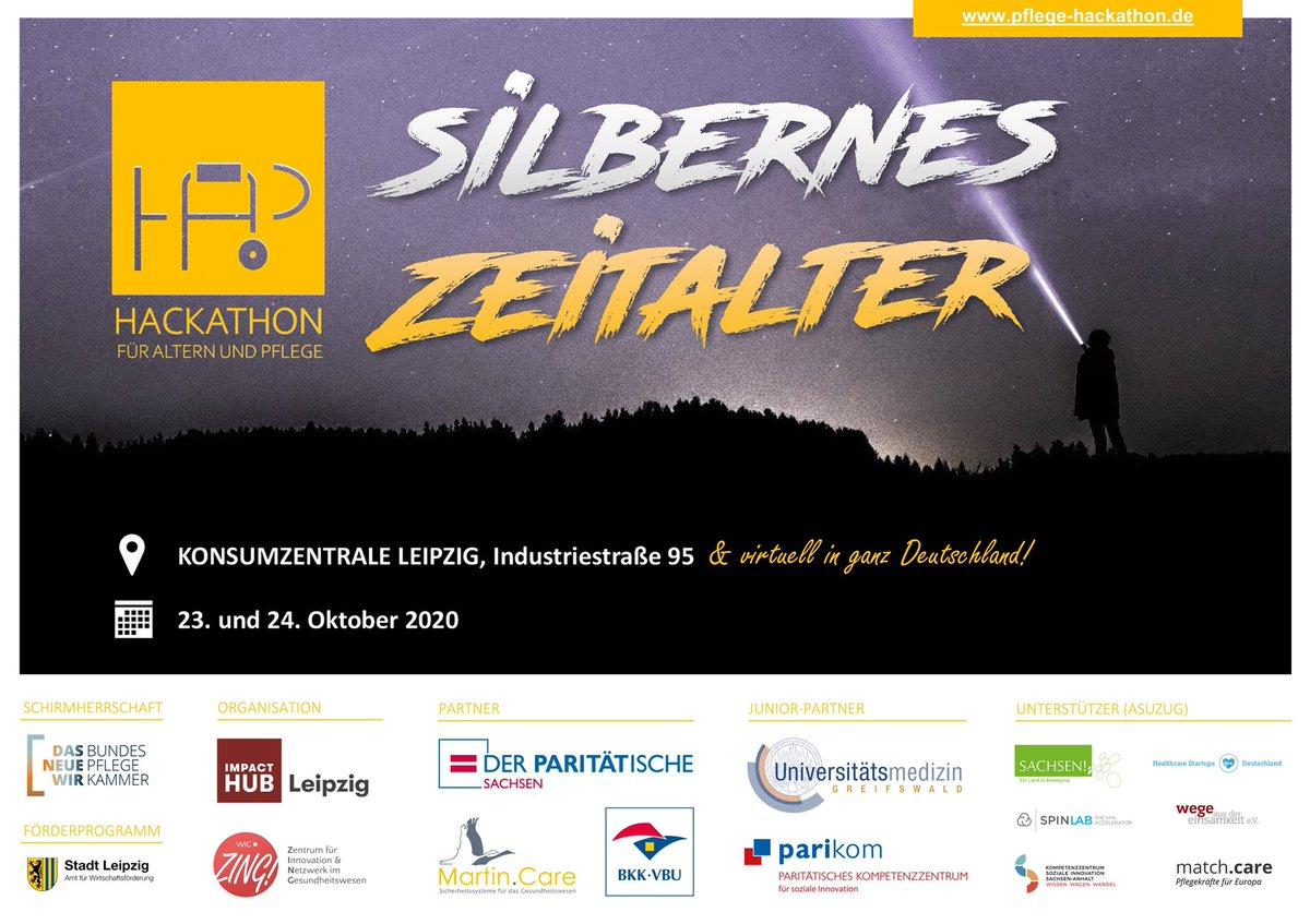 In genau 1 Woche startet der #HAP2020 #Hackathon für #Altern|n und #Pflege in #Leipzig + virtuell! Wir freuen uns auf 4 Challenges: Silver-Surfer-Stammtisch, Pflege-Vermittlung, Innovations-Ampel und Pflege-Roboter. 💡Jetzt anmelden und dabei sein: https://t.co/NxvzxVSVCV. 💪🏻 https://t.co/HU15iTvy0V