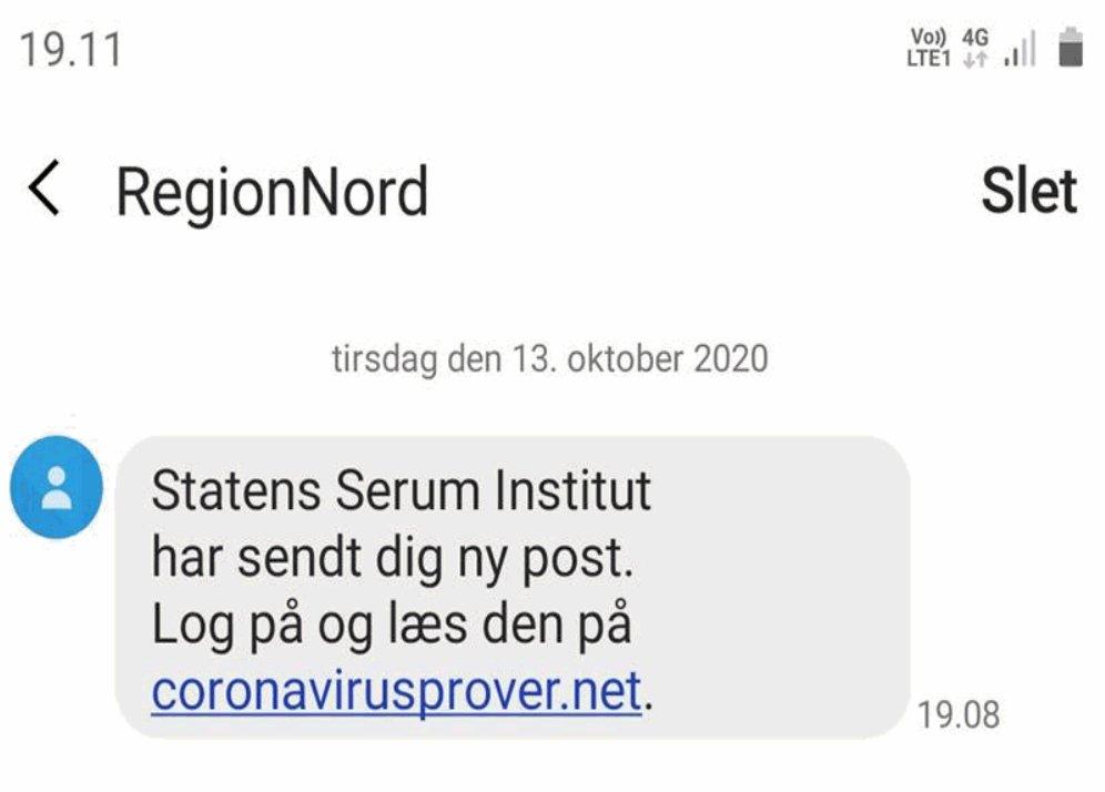 """Har du fået denne sms, hvor du af """"RegionNord"""" opfordres til at logge ind på en hjemmeside for at læse mere? Lad være med at trykke på linket. Det er phishing. Slet beskeden. #politidk https://t.co/LOkHk2lLkq"""