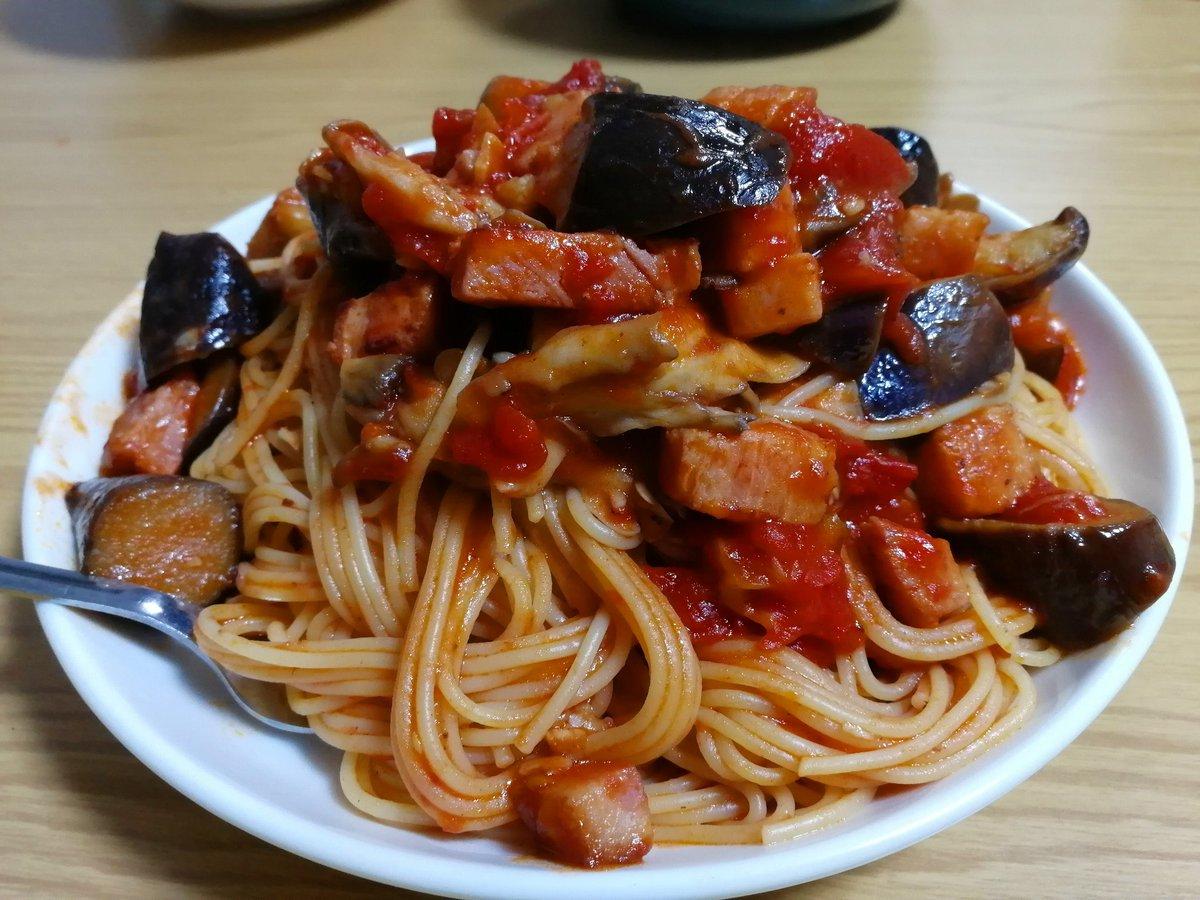 これみて作りました!😂ベーコン茄子と舞茸のトマトパスタ