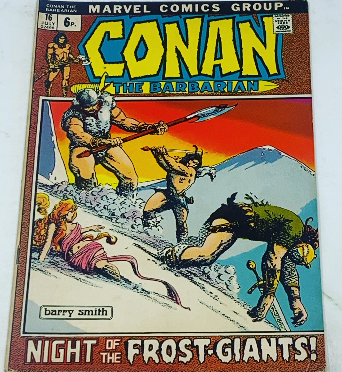 Barry Windsor Smith claims Cover Of The Day today with Conan The Barbarian #16. I do think the woman in the foreground should wrap up a bit though, that snow must be cold 🥶🥶#coveroftheday #conan #unrealitystore #barrywindsorsmith #frostgiants https://t.co/yAy2sfe5kB