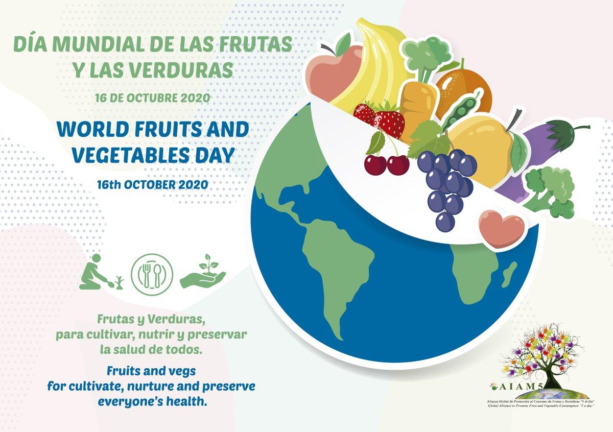"""¡Hoy es el #DíaMundialFyV! 🥦🍏  Coincidiendo con la celebración de #FruitAttraction #LIVEConnect, nos sumamos a la campaña de @5aldiaspain y al lema de este año: """"Frutas y Verduras para cultivar, nutrir y preservar la salud de todos"""".  ℹ️ https://t.co/UtEfXmsevj https://t.co/5o2qQDP9sX"""