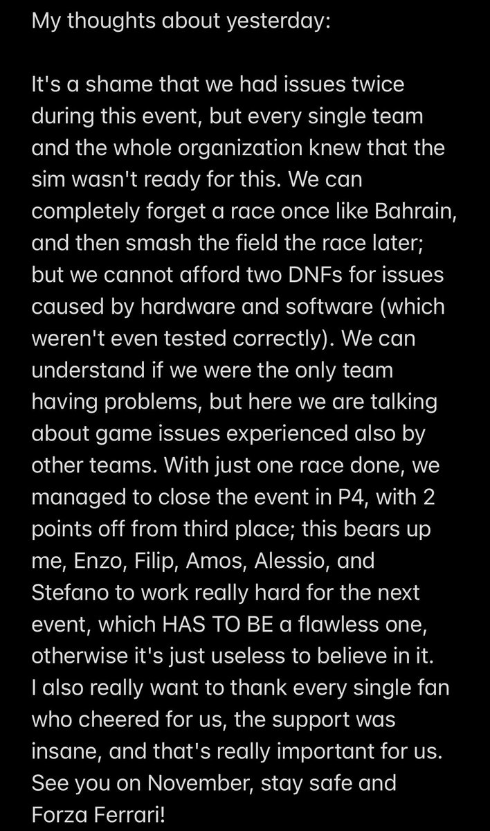 My thoughts about yesterday's F1 Esports event. https://t.co/WoLliFmrYi