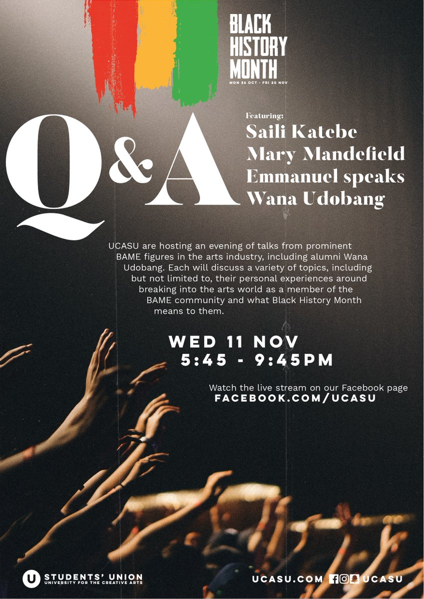 test Twitter Media - Q&A, with Saili Katebe, Mary Mandefield, Emmanuel speaks and Wana Udobang.  Wed 11 Nov | 5:45 - 9:45pm Tickets for the event in Farnham can be booked for FREE online at https://t.co/ixQUESmEXe or watch the live stream on our Facebook page.  #bhm #uca https://t.co/h94Mf70HeP