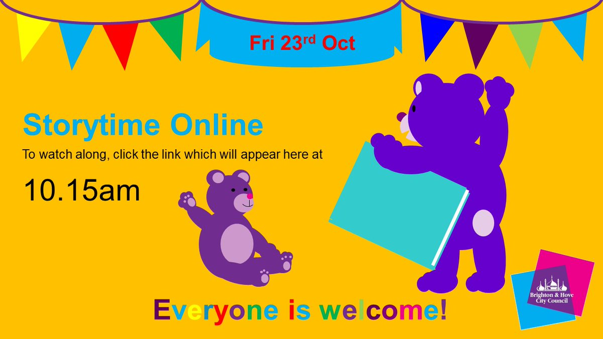 Join us for online #storytime this morning! At 10.15am, click the link when it appears here to watch along! https://t.co/mwDtx5mxgG  #Stories #toddlers #children #activities #library #libraries #Brighton #Hove #Sussex #families #parents  @BHCETS @BHforFamilies https://t.co/ej9FpsUele