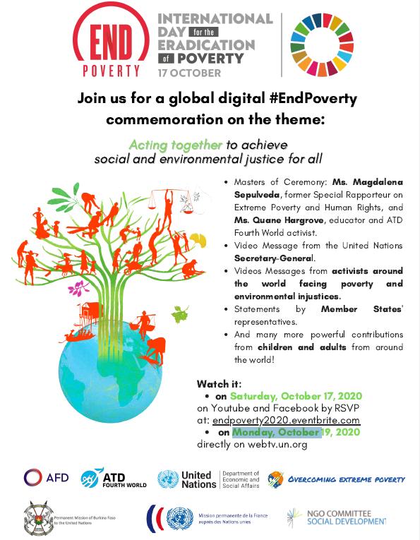 """📌Rejoignez-nous demain pour une commémoration mondiale sur l'élimination de la #pauvreté """"Agir ensemble pour gagner la justice sociale & environnementale pour tous""""  📺Inscriptions: https://t.co/YACqEHMWVw 🗓️ + Lun 19 oct sur https://t.co/8ChpeCVKH7  #IDEP2020 #EcoSocialJustice https://t.co/GXy2Mru4Gg"""
