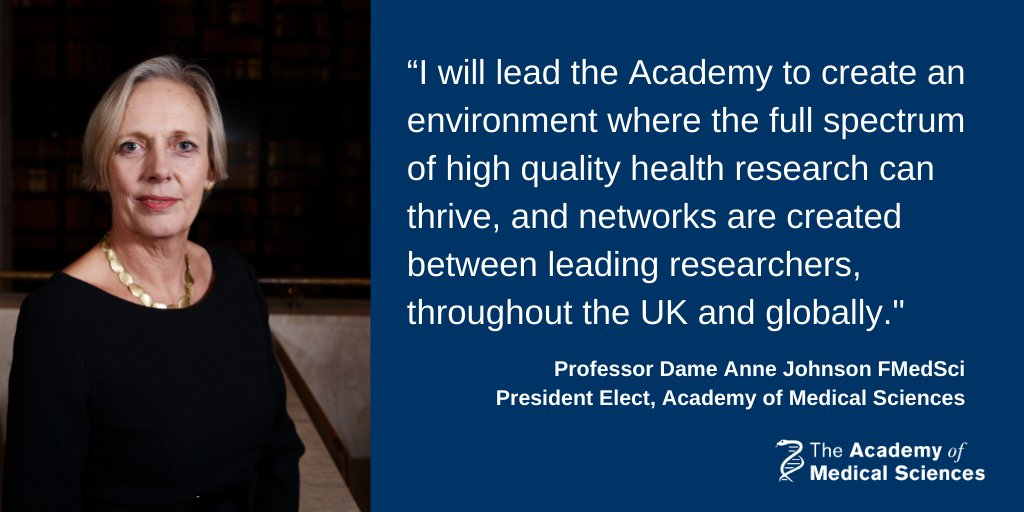 Congratulations to Professor Dame Anne Johnson FMedSci, announced today as our new President. Dame Anne will be taking up her post in December 2020. Find out more: https://t.co/RNm3OpqMBH https://t.co/0SbWykEiYs