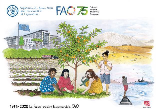 🎂On this #WorldFoodDay, congratulations to @FAO for its 75th anniversary - also 75 years of  🇫🇷-FAO🇺🇳 partnership.   We have prepared a surprise for you, with this special gift from @tedesco_robin, a young 🇫🇷 artist based in Rome 🙏👇  #FAO75 #WorldFoodDay🍊🌽 #FAOFrance75 https://t.co/lmya9DYh4P