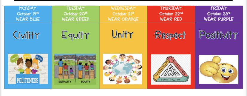 Time to get your colors ready for Bullying Awareness Week. @LyonsMill