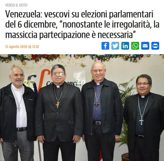 """Dopo l'inaccettabile dichiarazione #12agosto #ConferenciaEpiscopal🇻🇪:NONOSTANTE LE IRREGOLARITÀ, LA MASSICCIA PARTECIPAZIONE (al voto) È NECESSARIA  #OGGI riportiamo con sollievo #15ottobre:  """"ELEZIONI PARLAMENTARI IMMORALI...GOVERNO VUOLE MANTENERE POTERE A TUTTI COSTI"""" #vescovi https://t.co/mJrlgcBsPa"""