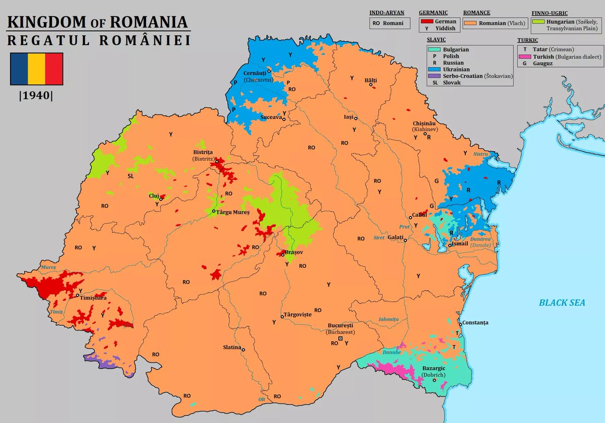Since Romania reminds me of vampires and Halloween is approaching, heres a language map of it in 1940 🦇🇷🇴 x